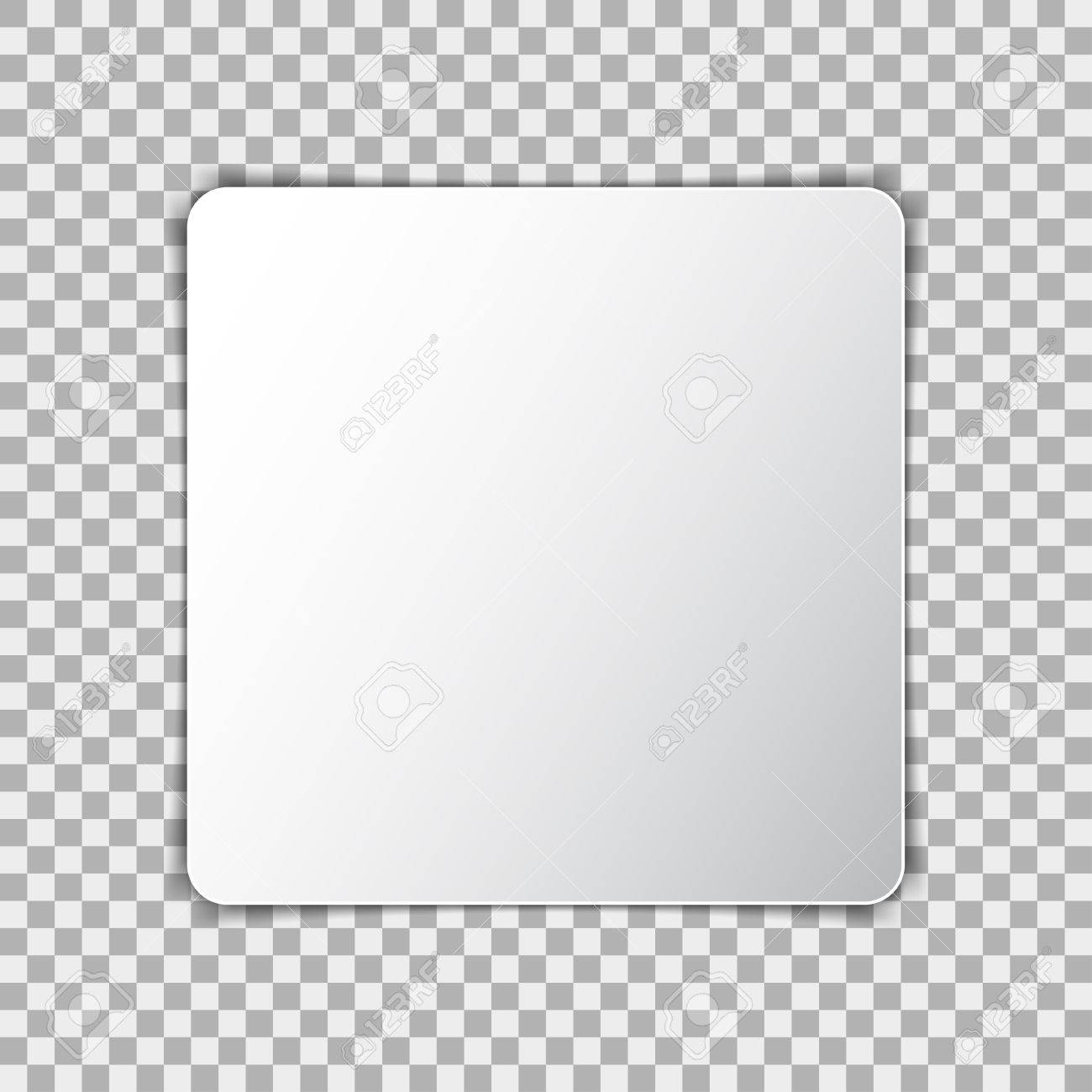 white blank poster mockup in square sheet of paper on transparent