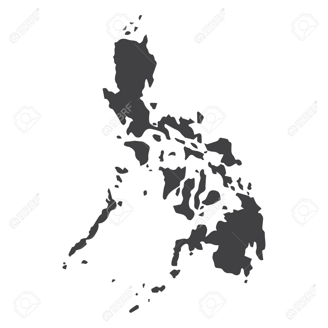 Philippine Map Black Philippines Map In Black On A White Background. Vector