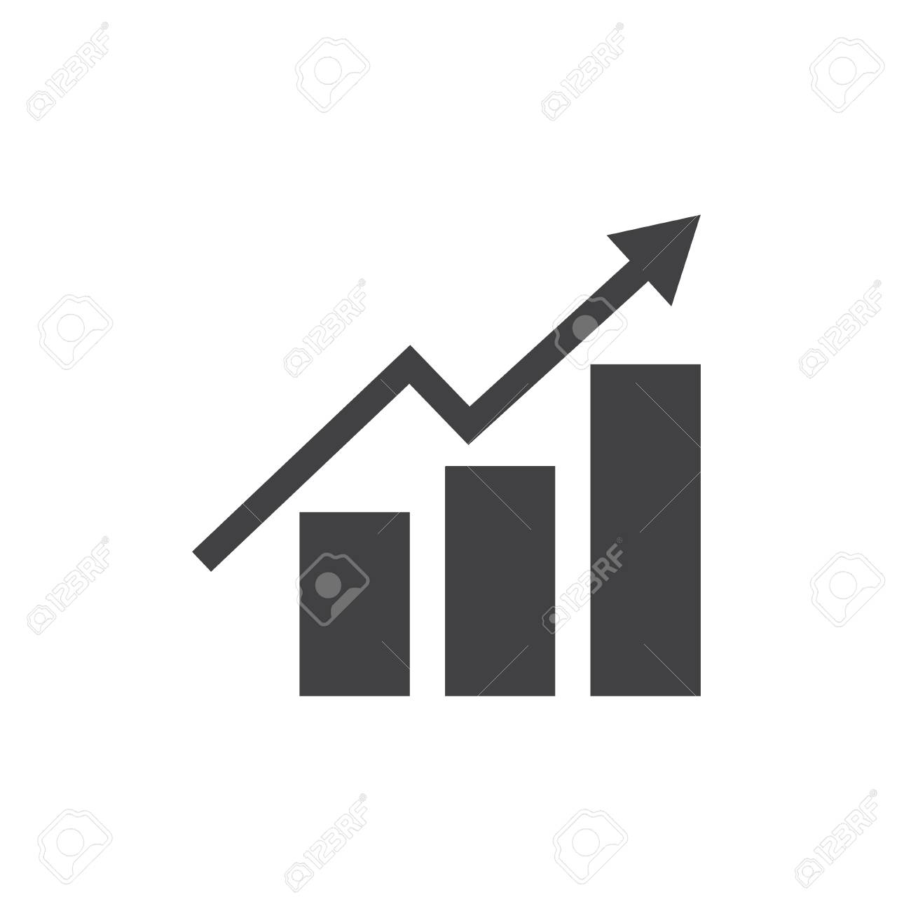 growing bar graph icon in black on a white background. vector
