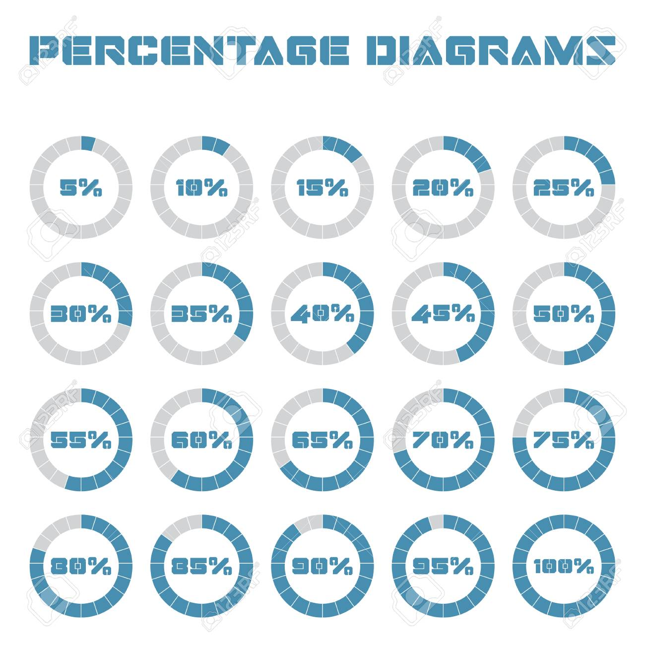 Set Of Circle Percentage Diagrams For Infographics 5 10 15 20