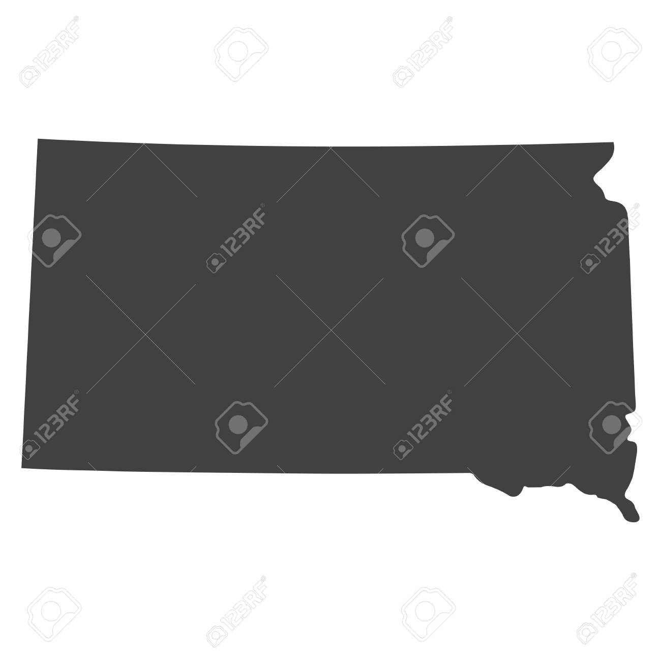 South Dakota State Map In Black On A White Background Vector