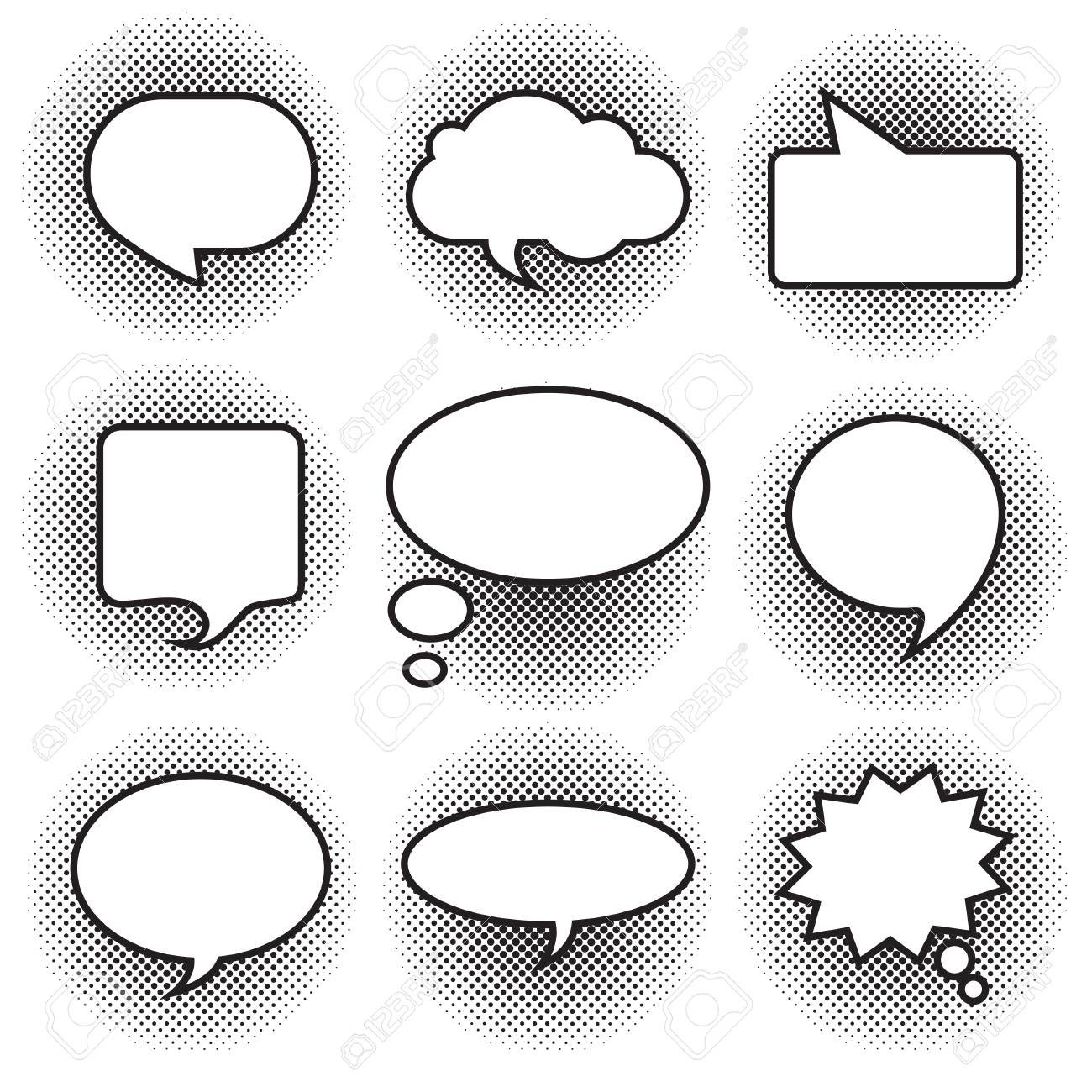 big set picture blank template comic text speech chat bubble