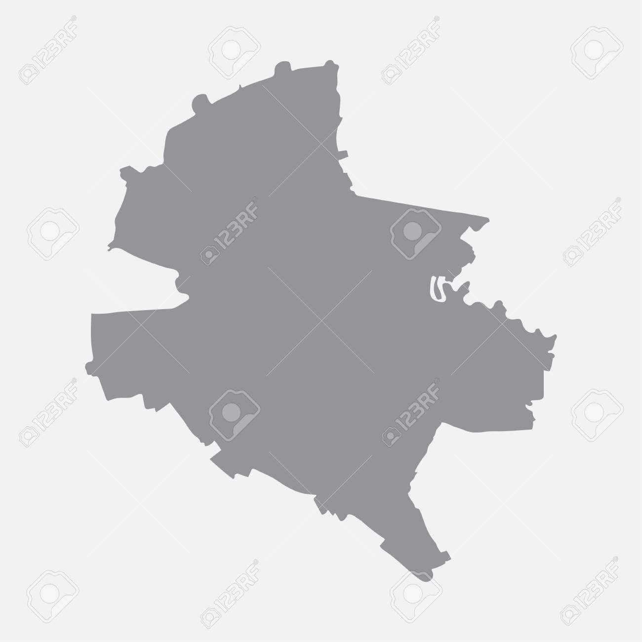 Bucharest city map in gray on a white background