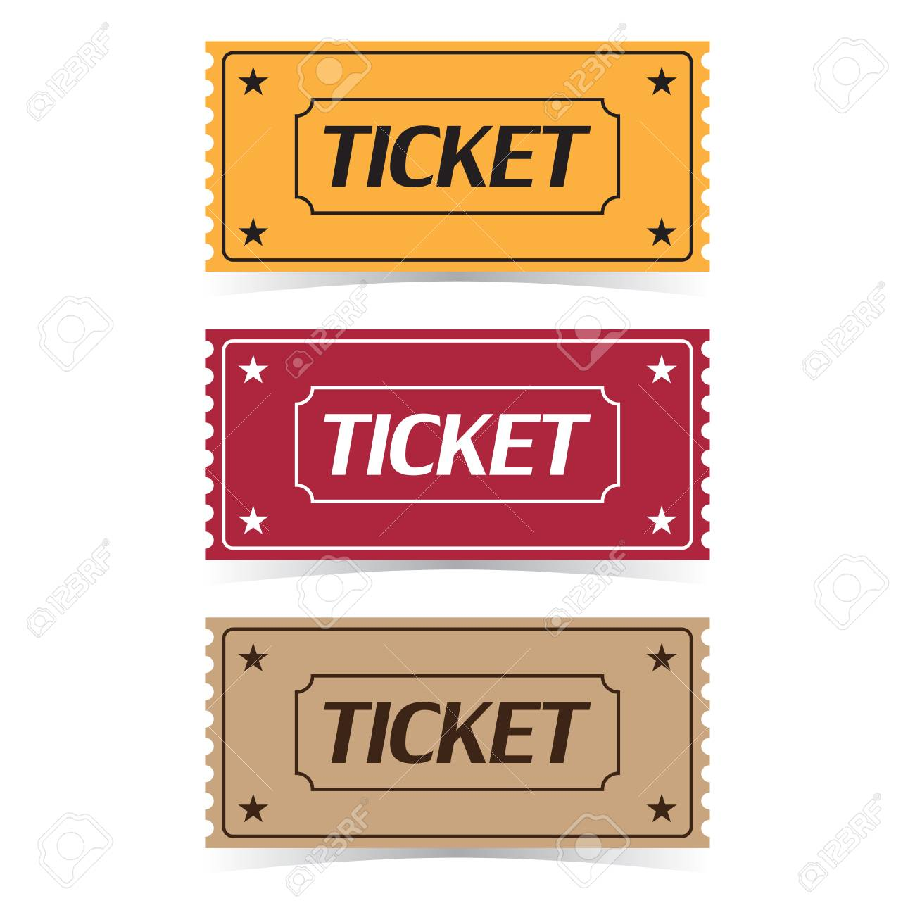 Set of movie ticket icons vector illustration. - 88843830