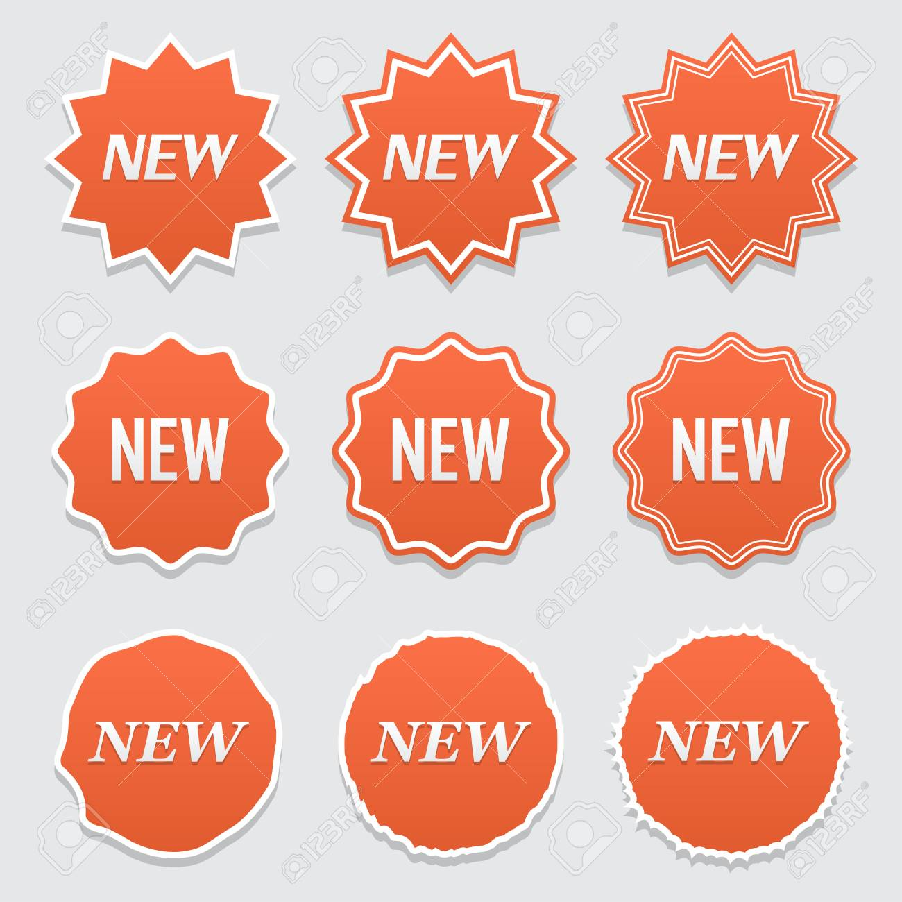 New sticker set vector sale banner for web store product stickers with offer