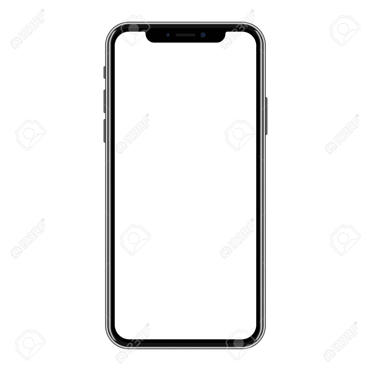 New version of black smartphone with blank white screen. - 90149643
