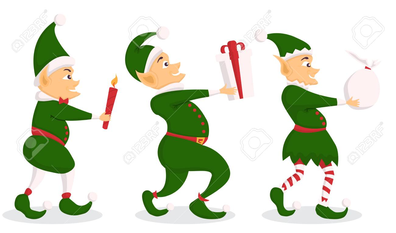 Set Of Christmas Elf Character With Bag In A Flat Design. Royalty ...