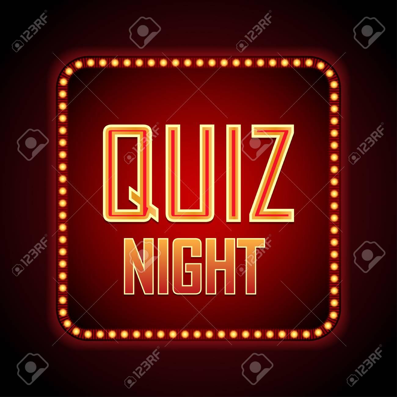 Quiz night announcement poster design web banner background. Vector illustration. - 96850404