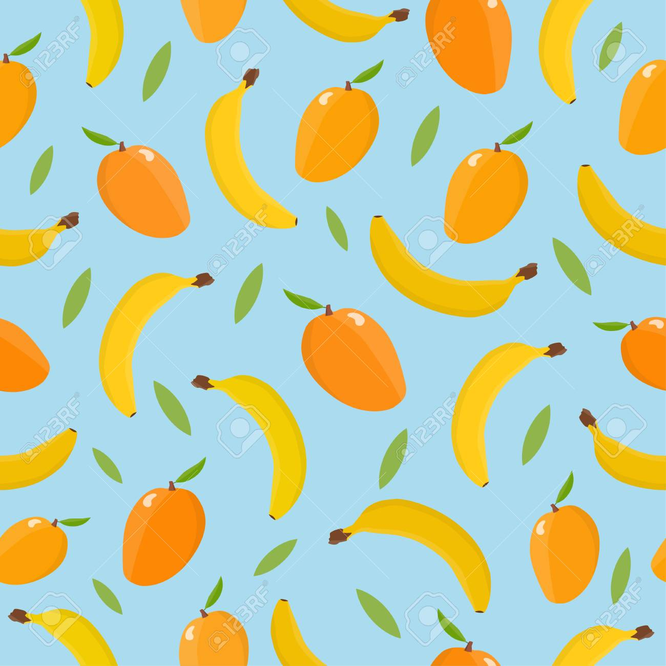Seamless pattern with mango and banana. Tropical background. - 113910253
