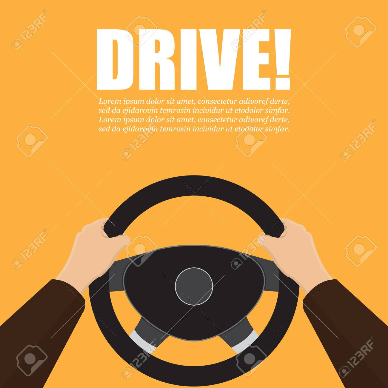 Hands hold the steering wheel of the car. Vector illustration. - 113910251