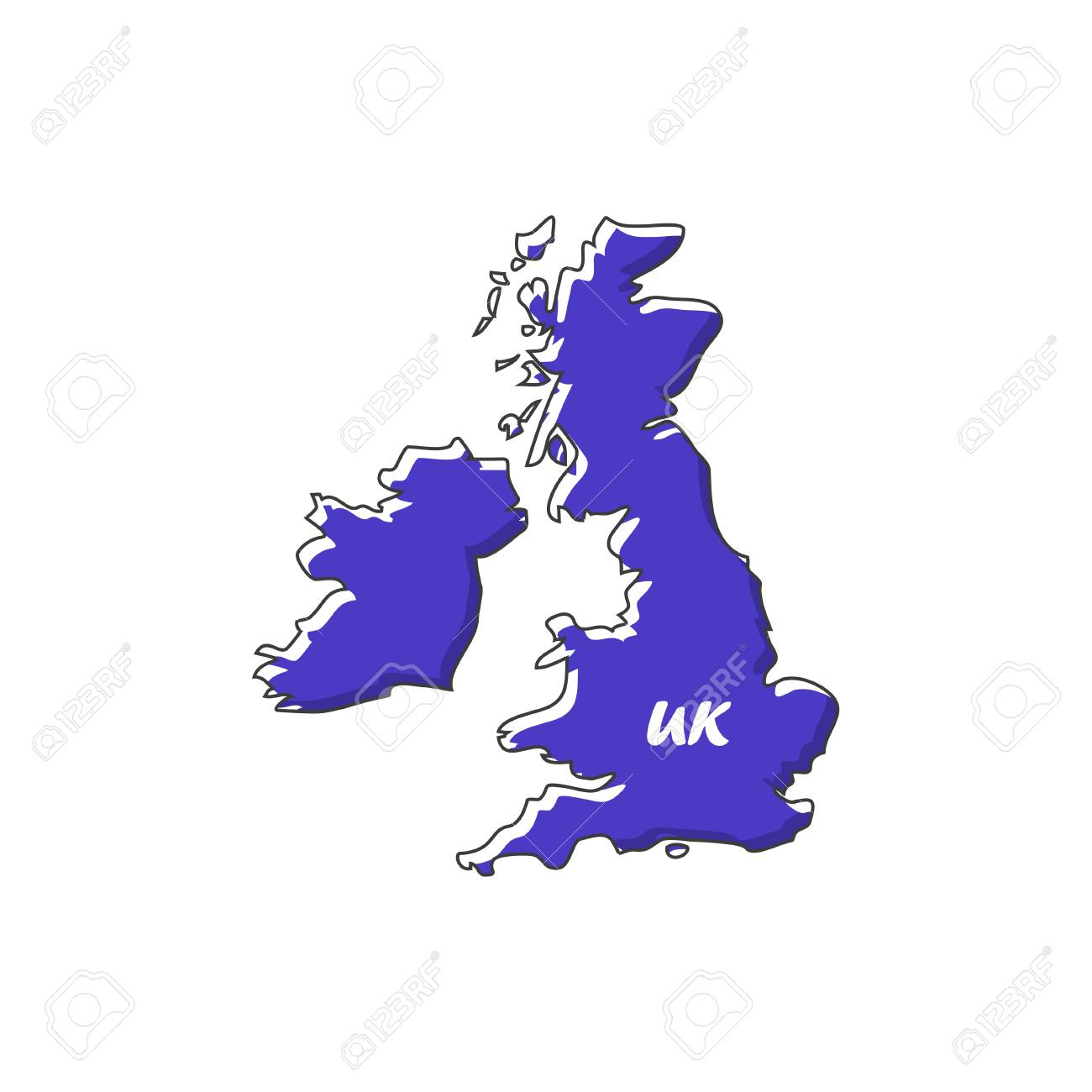 UK Map Icon In A Flat Design. Vector Illustration Lizenzfrei ... Uk Map on