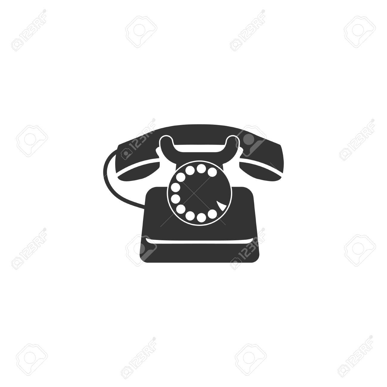 Retro phone icon in simple design  Vector illustration