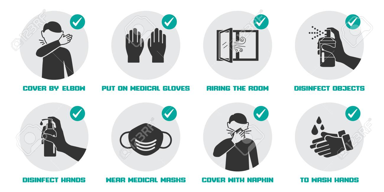 Preventive measures icons for not getting sick and not spreading virus - 142783612