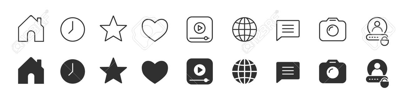 Social networks icons collection in two different styles - 167860372