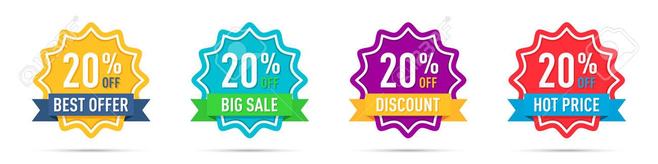 Set of different 20 percentage off promotion badges - 169914679