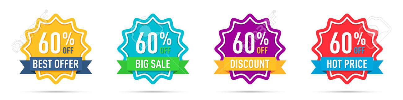 Set of different 60 percentage off promotion badges - 169914684