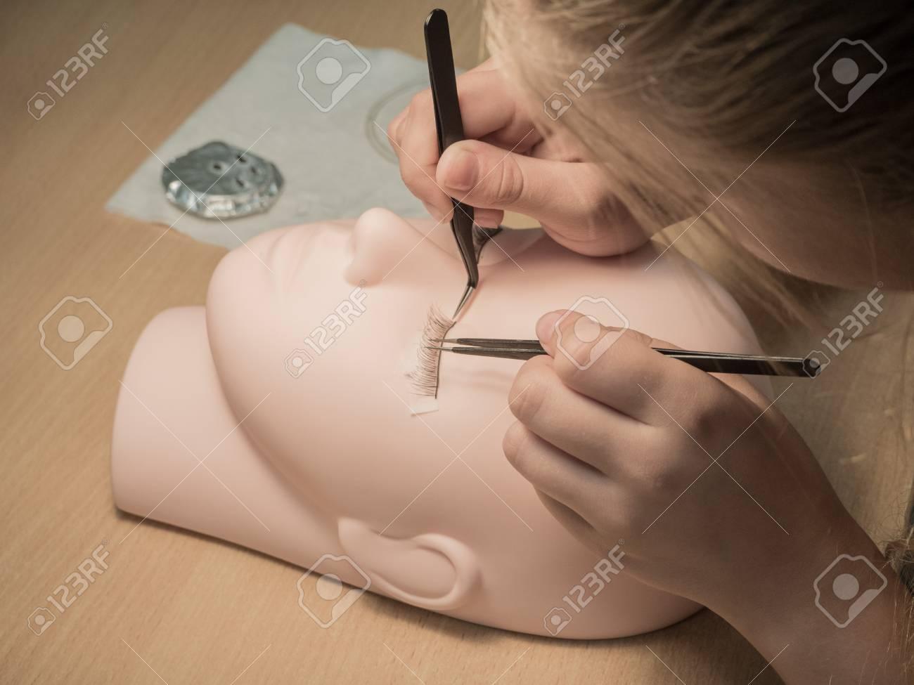 Training Eyelash Extensions. Work On Coloring Eyelashes On A.. Stock ...