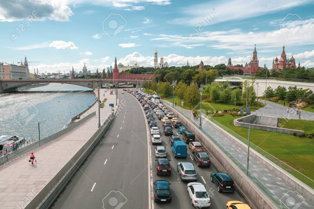 Moscow traffic jam. Cars stands in traffic jam on the city center. - 154380934