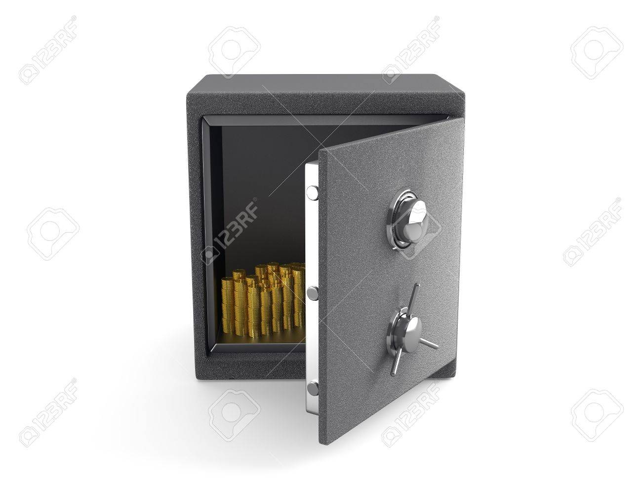 An Open Safe With Gold Coins Isolated On White Stock Photo ...