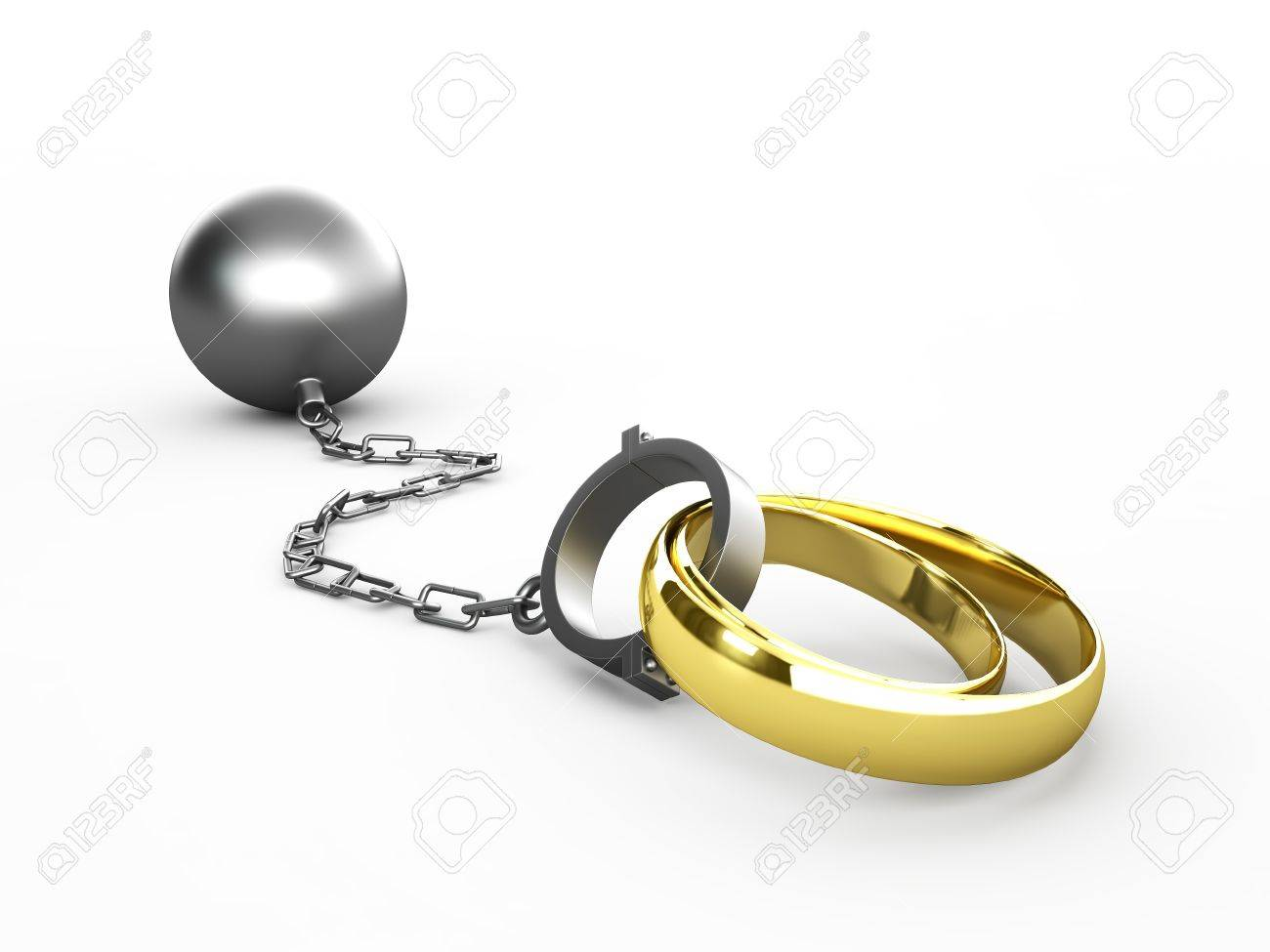 Wedding rings chained in shackles isolated in white Stock Photo - 16721616