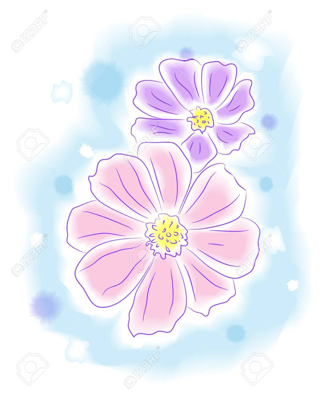 Flowers, water color style painting  illustration Stock Vector - 16886615