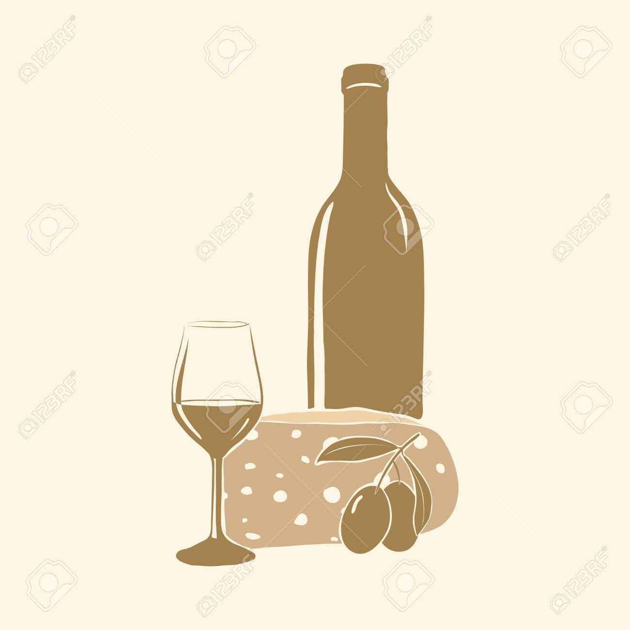 Wine, cheese, olives and glass. Vector Stock Vector - 17216009