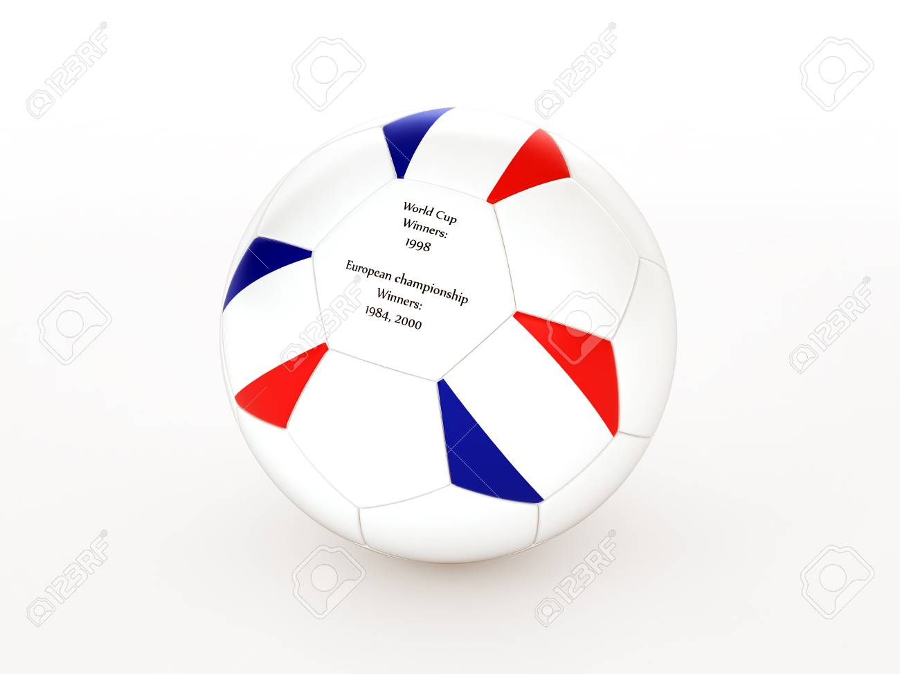 3d rendering of a soccer ball with with France flag and dates of great victories Stock Photo - 17694578