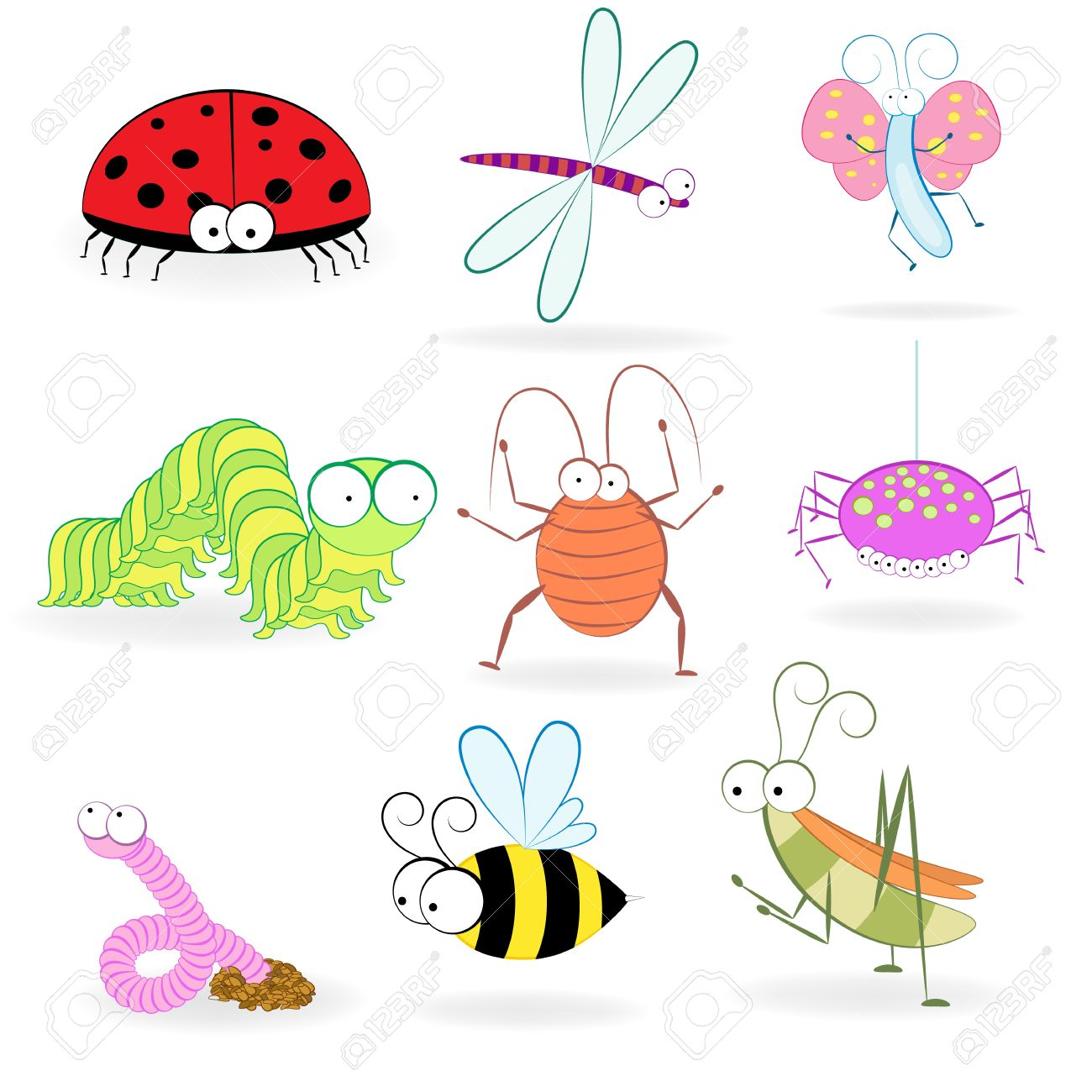 Set of funny cartoon insects  illustration Stock Vector - 18572473