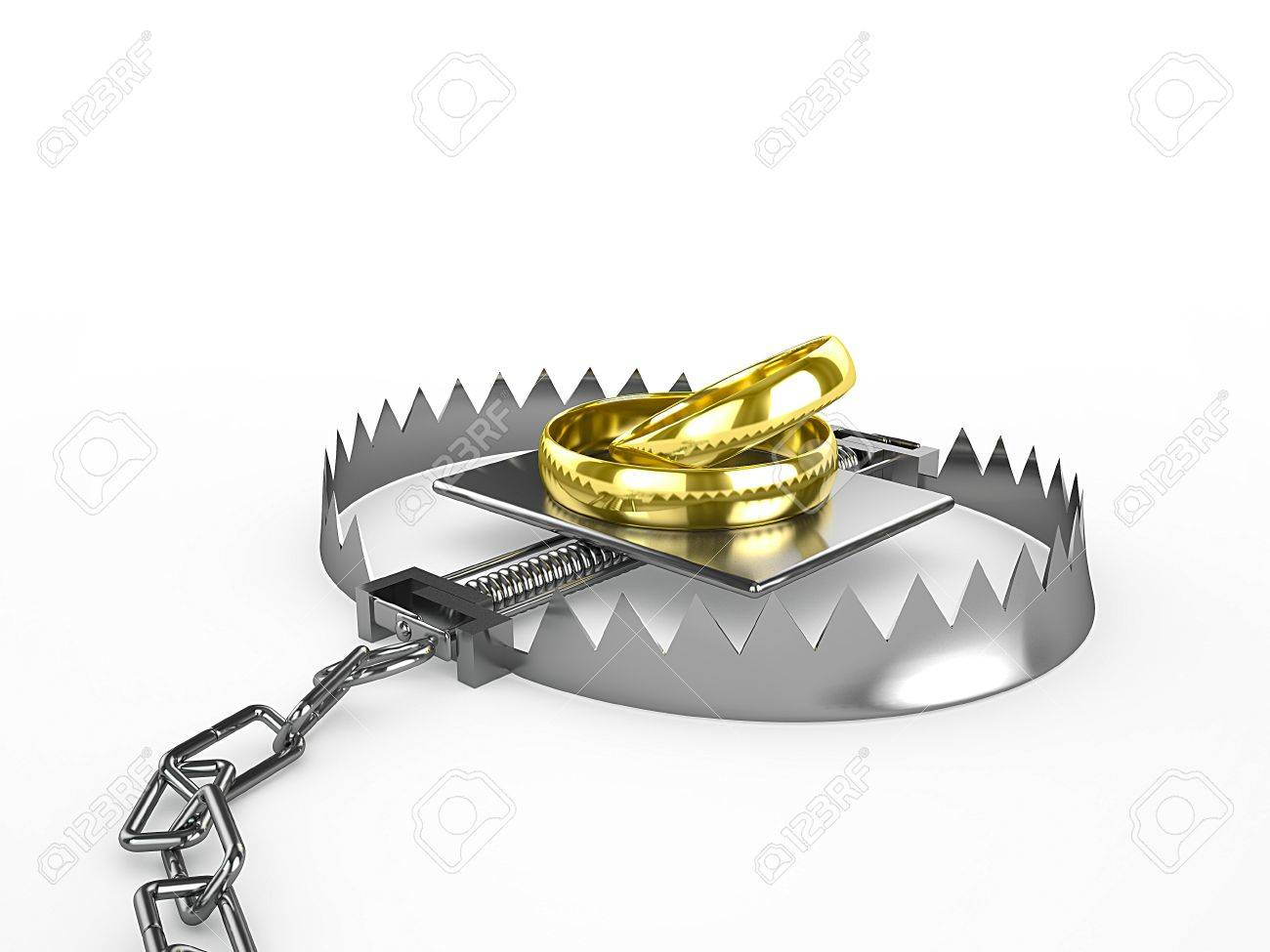 Two wedding rings - a bait in a trap, 3d render Stock Photo - 18572422