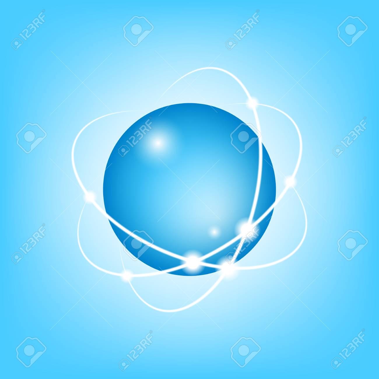 3D Vector Atom on blue, EPS10 Stock Vector - 19095949