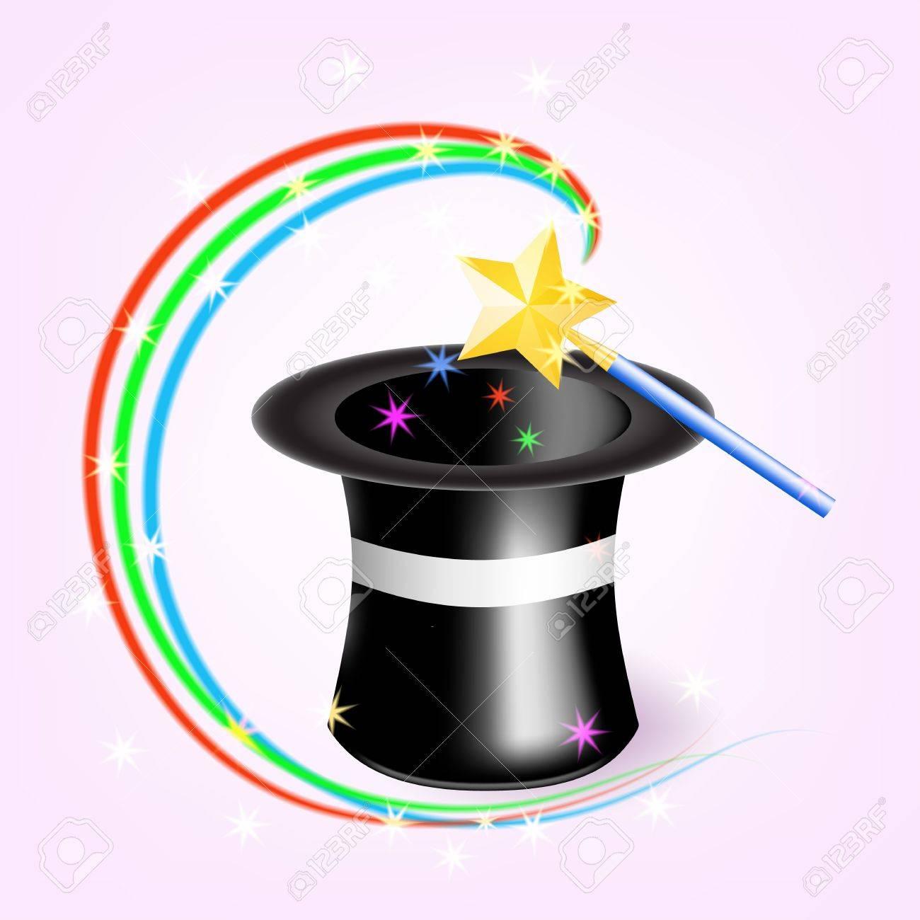 0ce768e5492 Sombrero mágico con la varita mágica ilustración