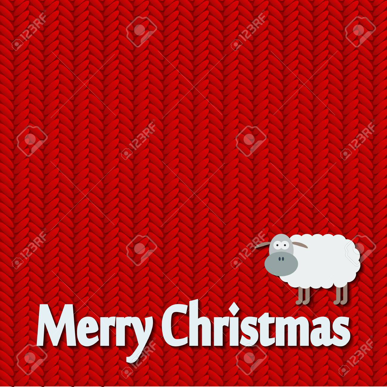 Christmas And New Year Knitted Pattern Card With Funny Sheep ...