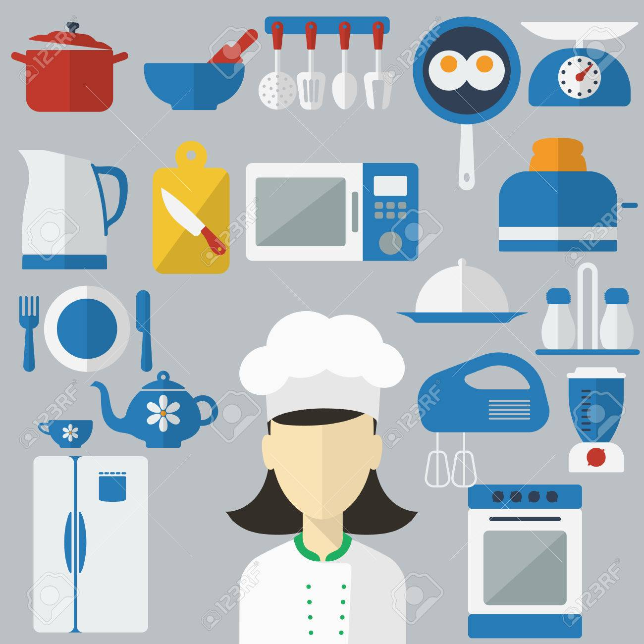 Flat Design Concept Icons Of Kitchen Utensils With A Chef On ...
