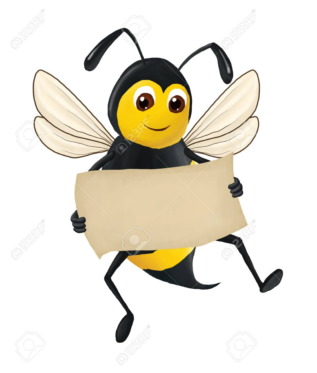 The Funny Bee Keeps A Clean Sheet Of Paper In His Hand Isolated