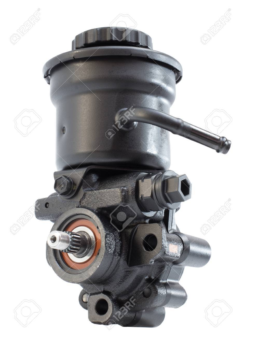 Hydraulic power steering pump with expansion tank on a white