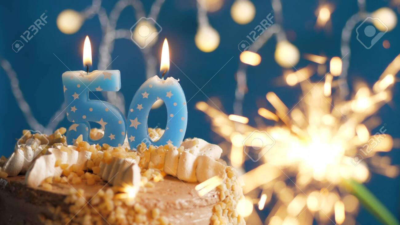 Sensational Birthday Cake With 50 Number Candles And Burning Sparkler On Funny Birthday Cards Online Alyptdamsfinfo