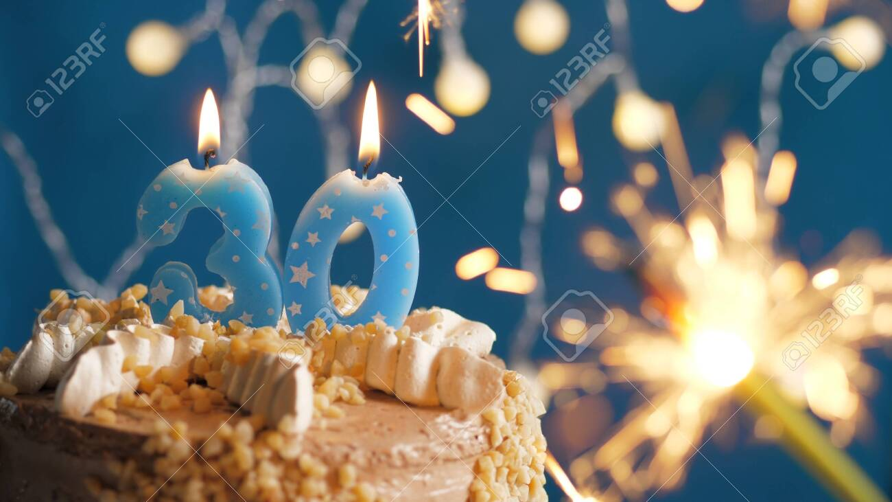 Pleasing Birthday Cake With 30 Number Candles And Burning Sparkler On Funny Birthday Cards Online Alyptdamsfinfo