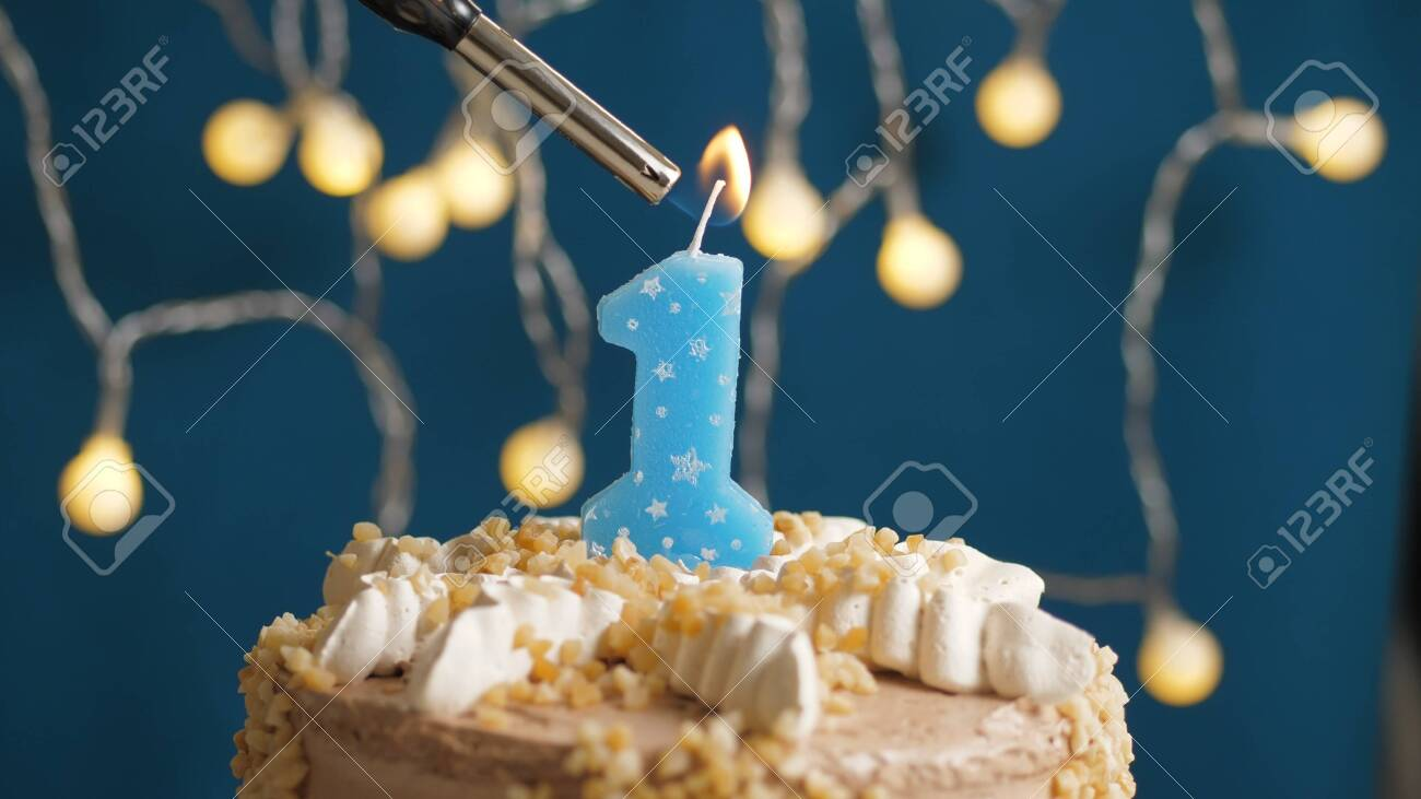 Astonishing Birthday Cake With 1 Number Candle On Blue Backgraund Set On Funny Birthday Cards Online Overcheapnameinfo