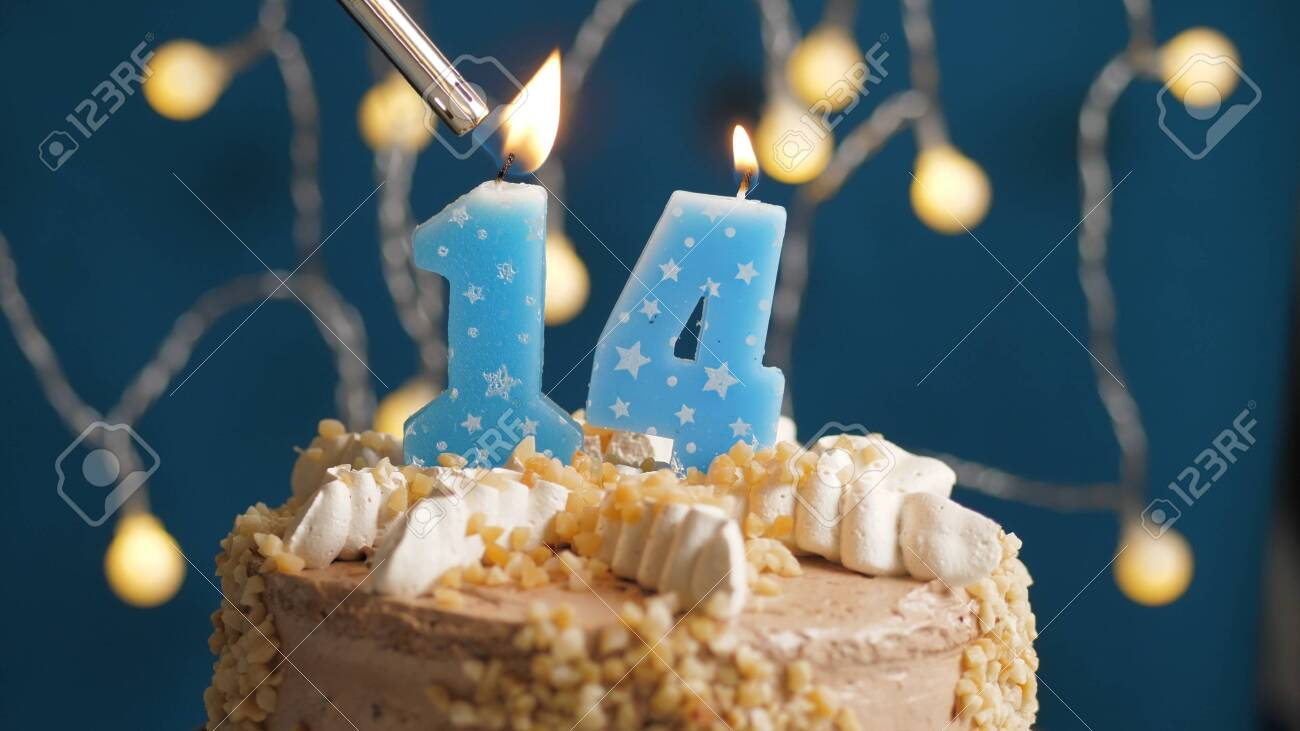 Excellent Birthday Cake With 14 Number Candle On Blue Backgraund Set On Funny Birthday Cards Online Overcheapnameinfo