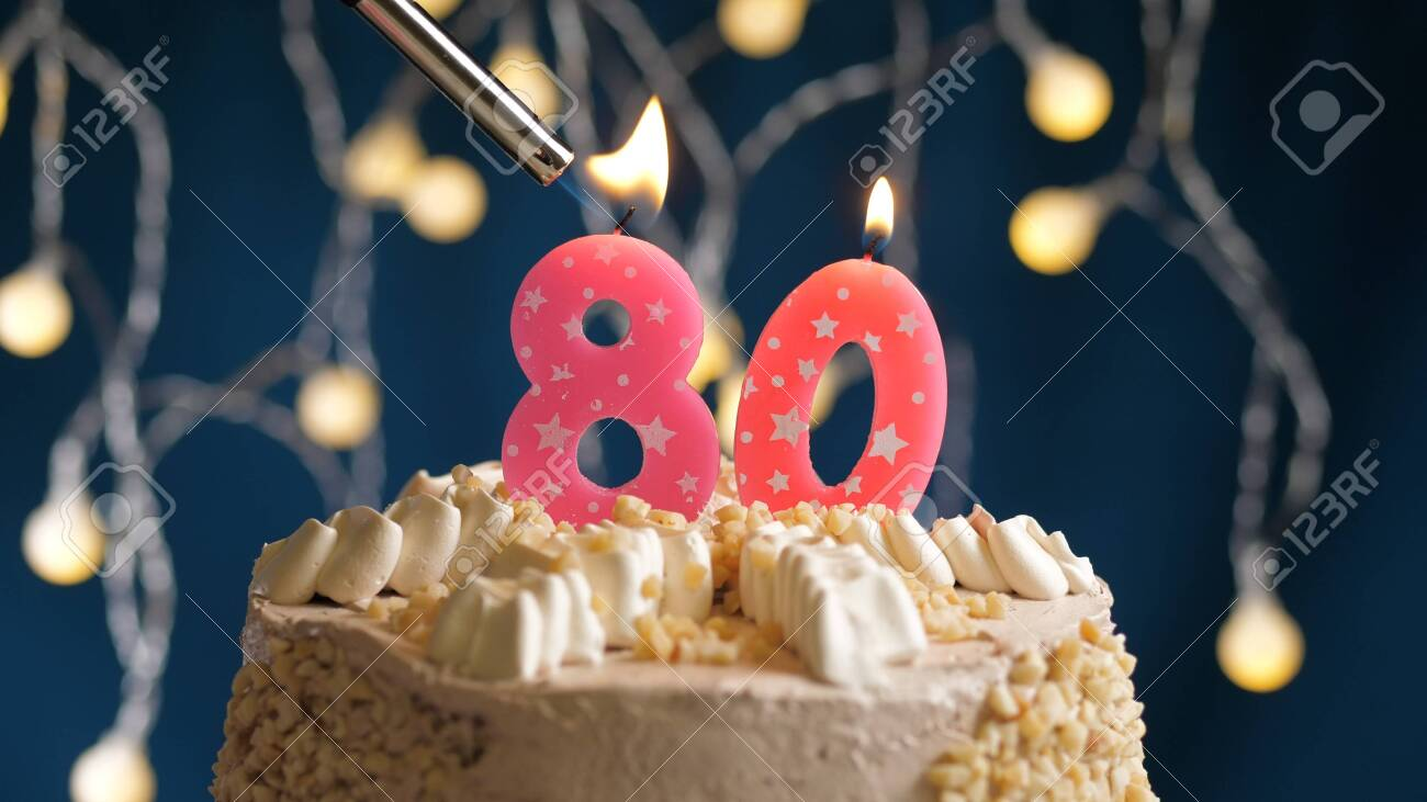 Incredible Birthday Cake With 80 Number Candle On Blue Backgraund Set On Funny Birthday Cards Online Overcheapnameinfo