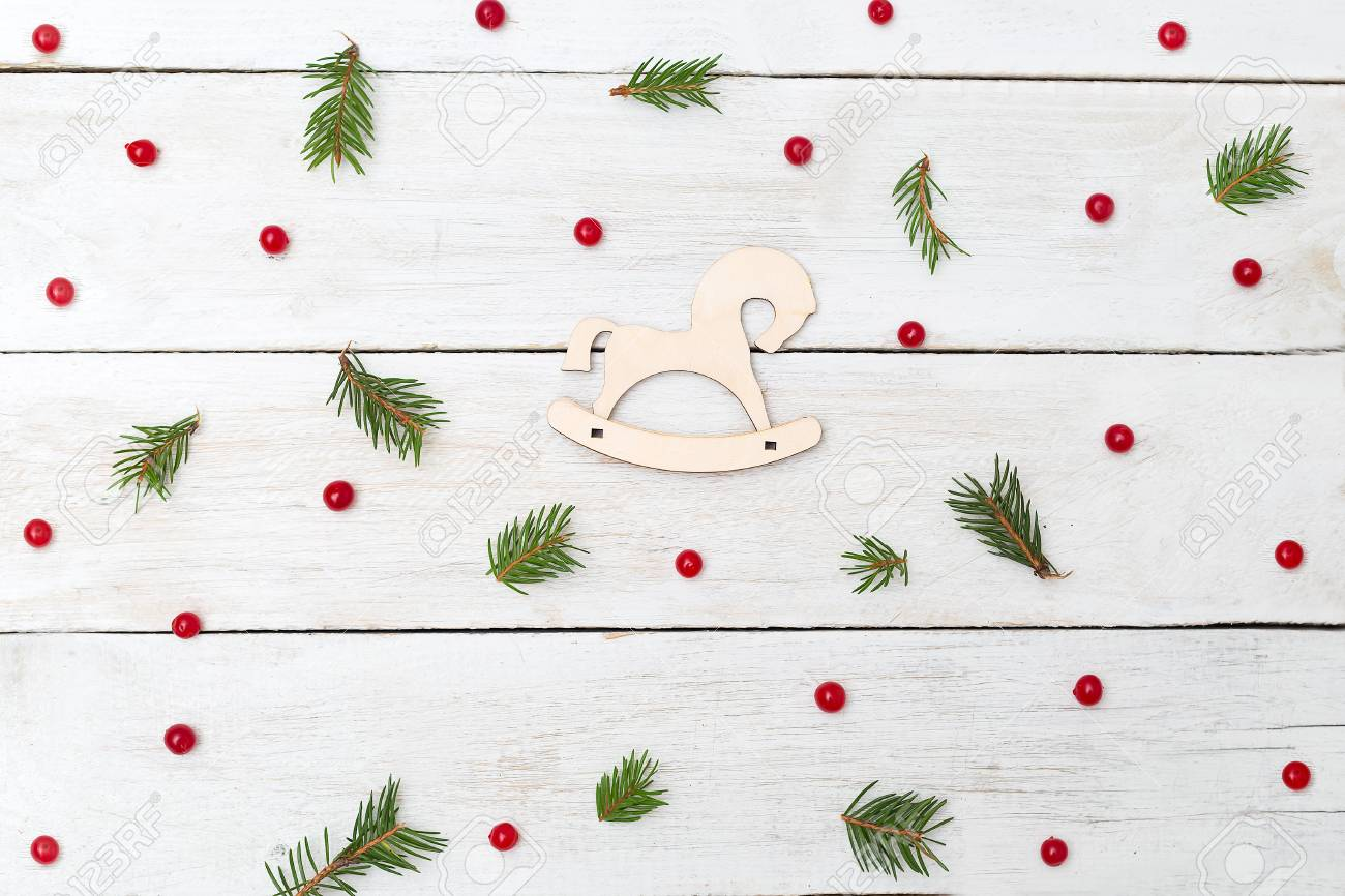 Christmas Backgrounds.Christmas Backgrounds Berries Of Viburnum With Spruce And Wooden