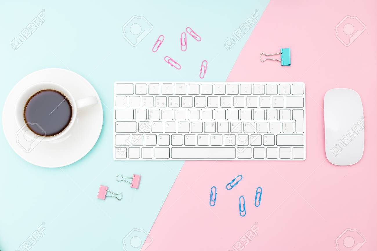 Desk And Stationery On Pastel Background Minimalist Design
