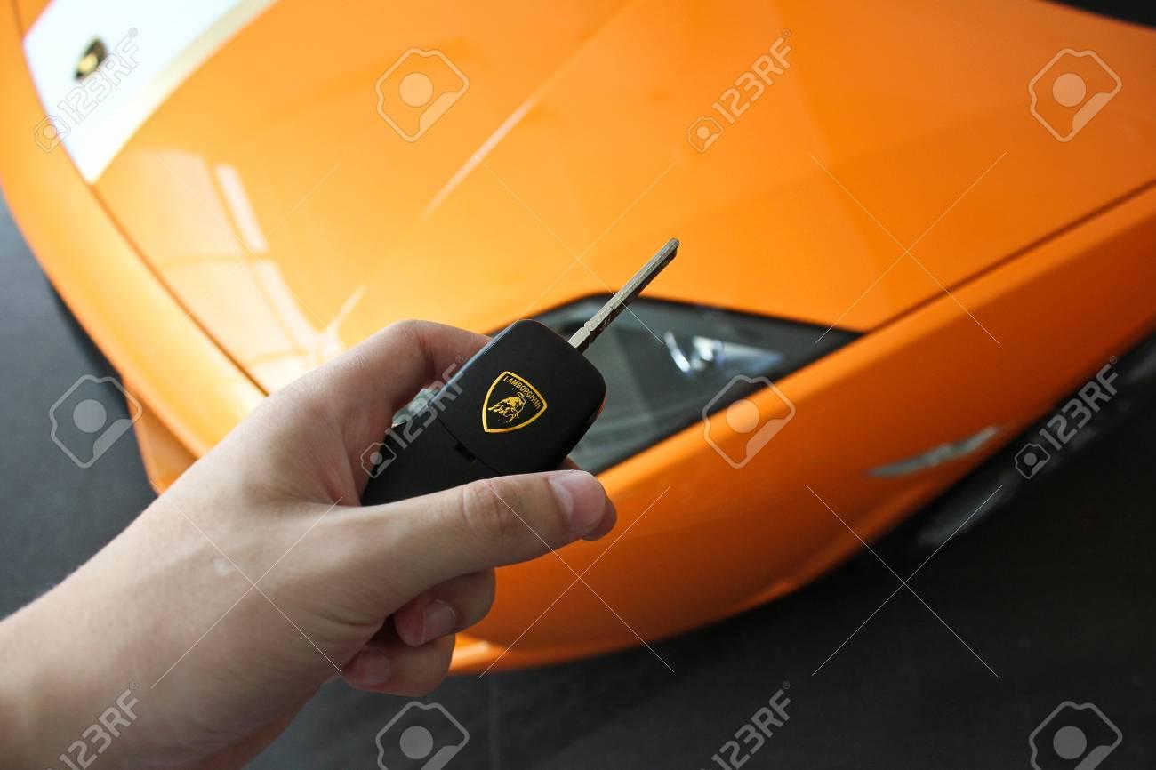 17 February 2011 Ukraine Kiev Man Holds The Key Of The Lamborghini