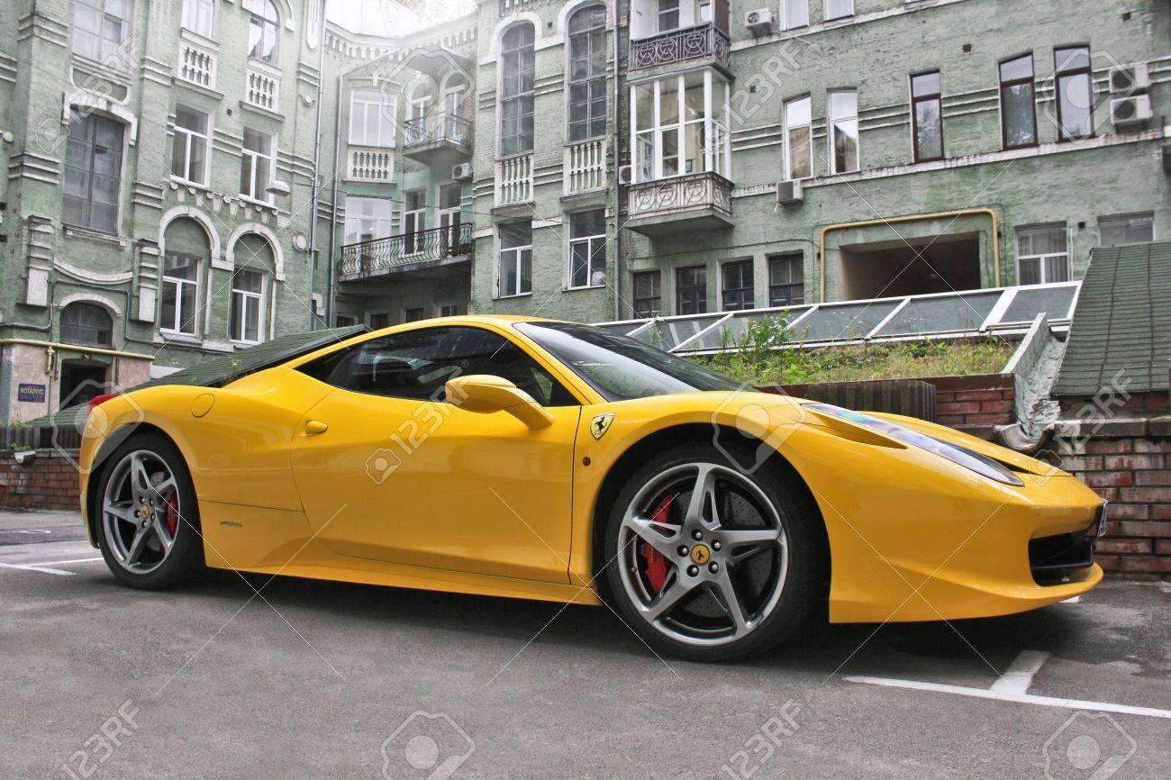 Ukraine Kiev October 5 2013 Ferrari 458 Italia Yellow Supercar Stock Photo Picture And Royalty Free Image Image 87372899
