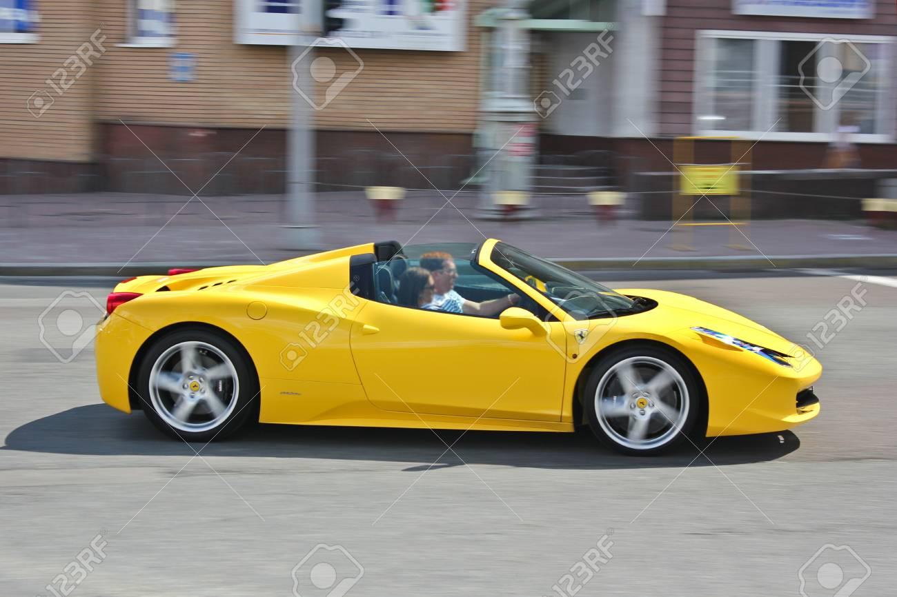 Ukraine Kiev June 25 2013 Summer Ferrari 458 Spider Cabrio