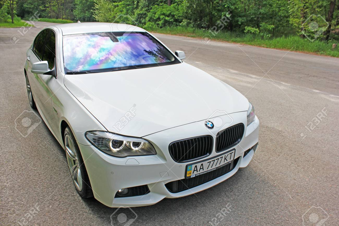 White Bmw 520 Tdi F10 M Sport In The Forest Road Kiev Ukraine Stock Photo Picture And Royalty Free Image Image 97175407