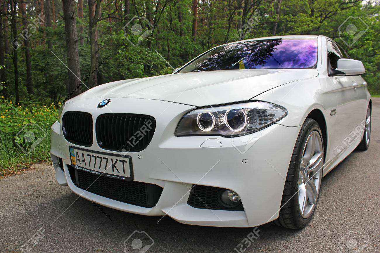 White Bmw 520 Tdi F10 M Sport In The Forest Road Kiev Ukraine Stock Photo Picture And Royalty Free Image Image 97175412