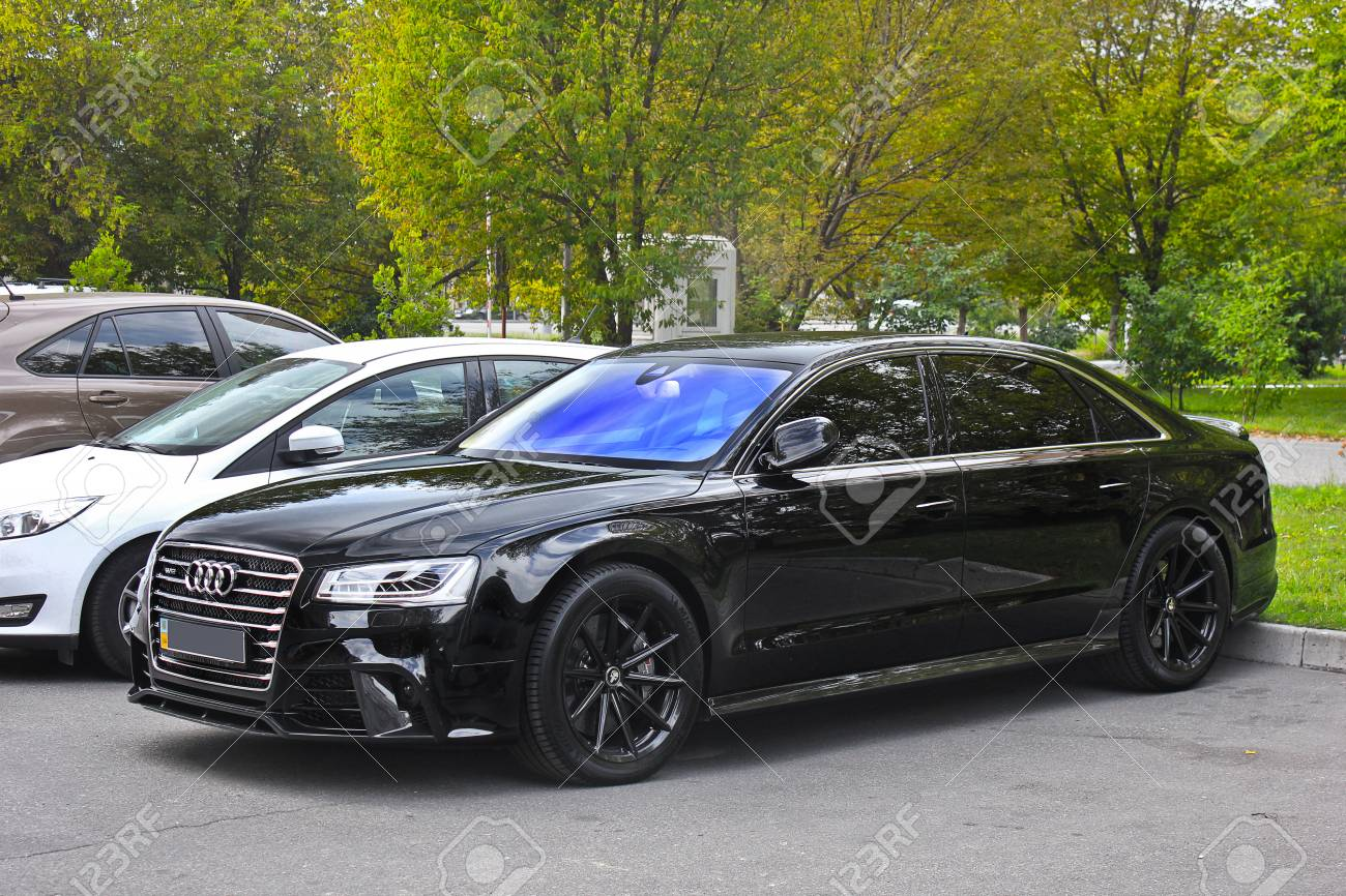 Kiev, UA   May 3, 2017: Audi A8, A Black Prestigious Car
