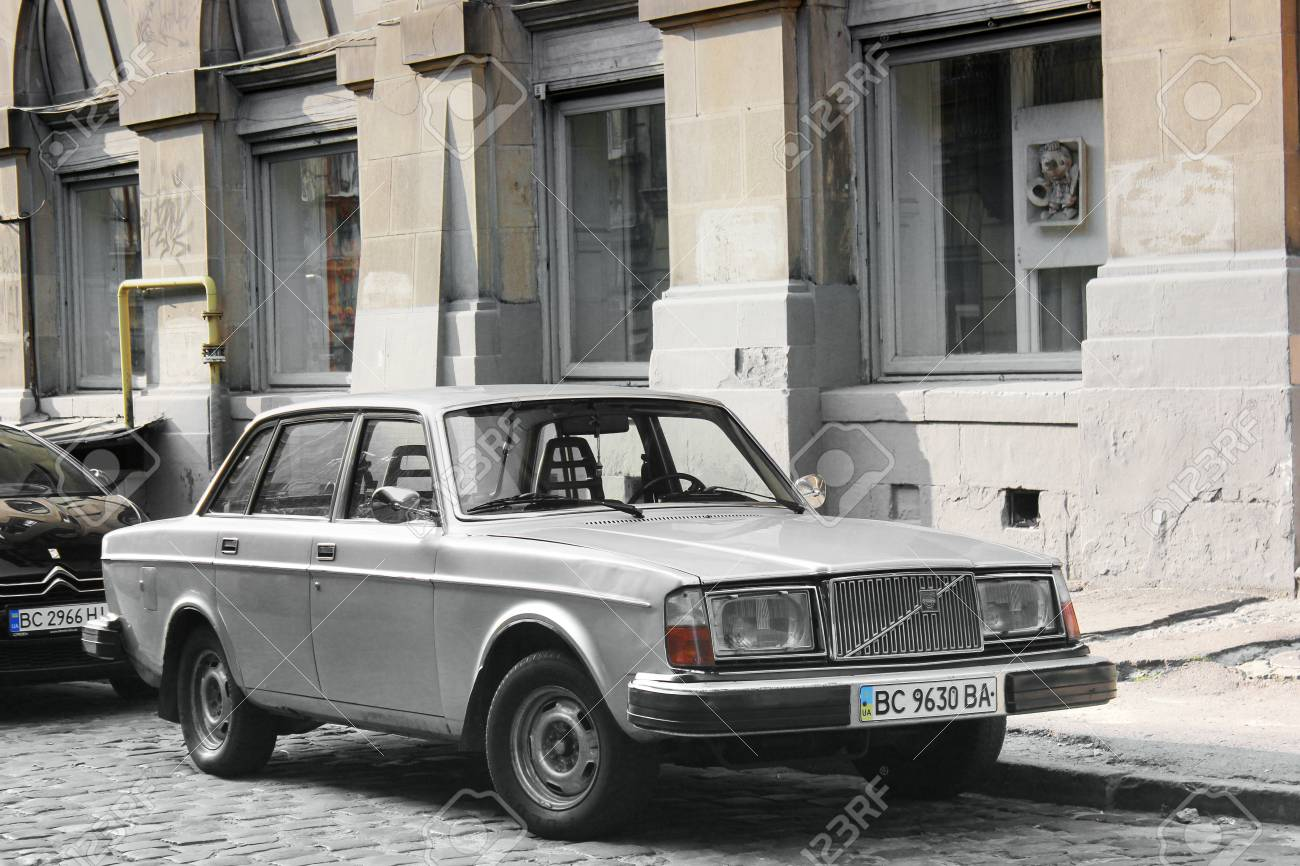 Lviv Ukraine August 37 2018 Old Volvo Car In The Old City