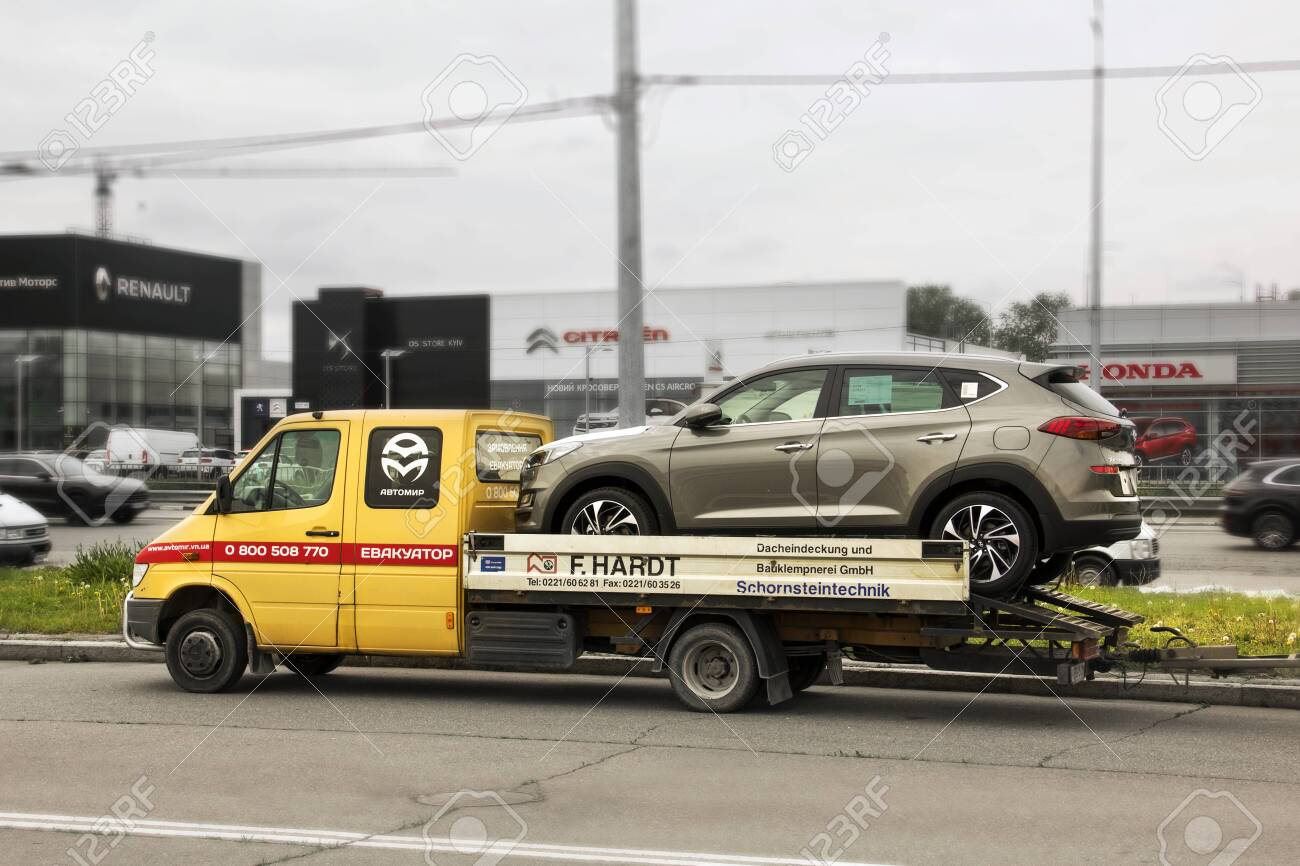 Kiev Ukraine May 19 2020 Car On A Tow Truck Hyundai Tucson Stock Photo Picture And Royalty Free Image Image 152053045